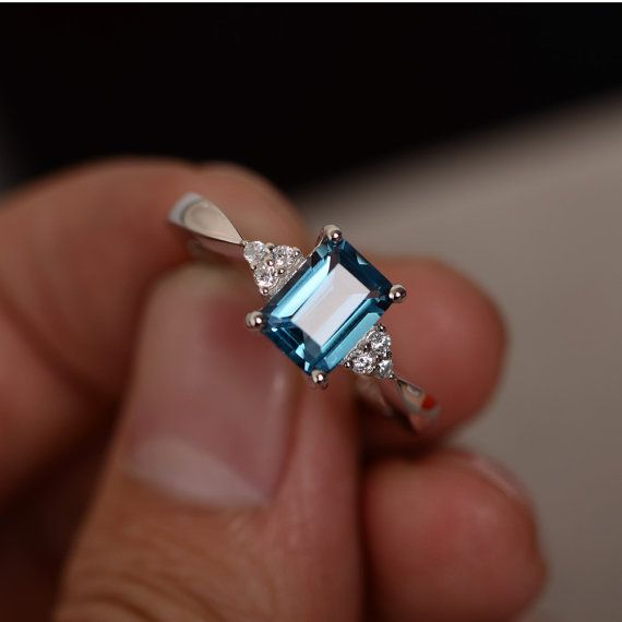 London Blue Topaz Ring Emerald Cut Gemstone Ring Sterling Silver Promise Ring For Her November Birthstone Ring