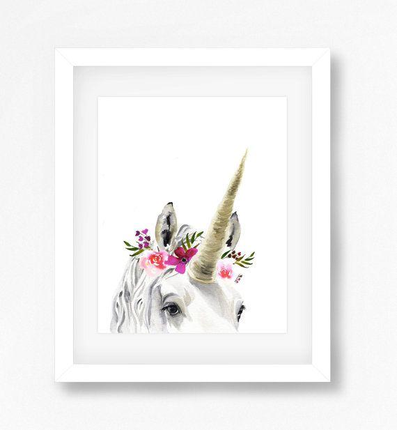 Unicorn Print by DandelionPaperCo on Etsy