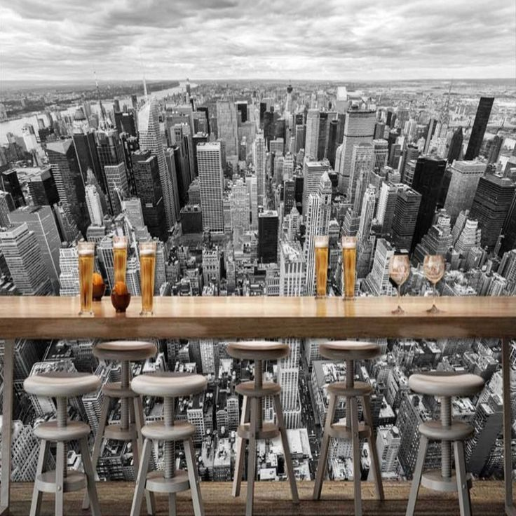 Cheap wallpaper mural, Buy Quality restaurant wallpaper directly from China bar restaurant Suppliers: Free Shipping Beautiful black white New York City Building scenery modern decorative painting bar restaurant wallpaper mural