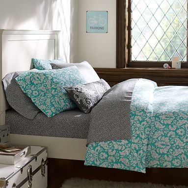 Damask Duvet Cover + Pillowcases #pbteen   Comes in Black  White too!  At Pottery Barn Teen