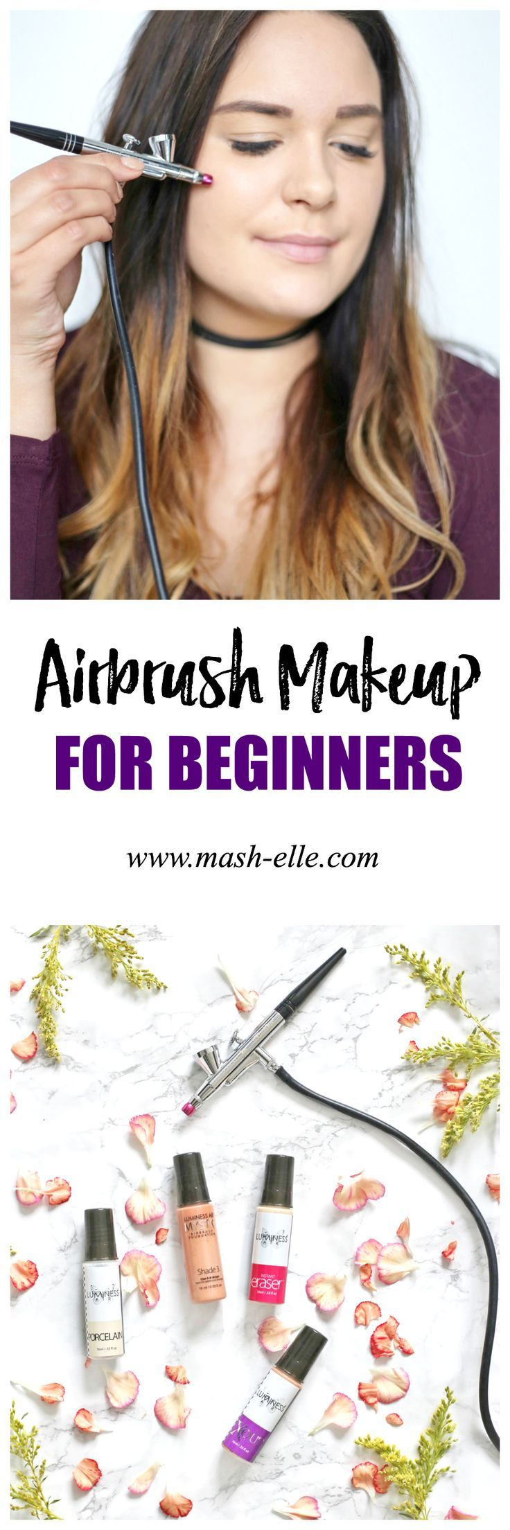 An easy beginner's guide to airbrush makeup! What products you need and how to achieve flawless skin! | Beauty blogger Mash Elle demonstrates how to apply airbrush makeup for a natural makeup look! The perfect Christmas or birthday gift for the women in your life: your mom, sister, aunt, friend etc! #ad