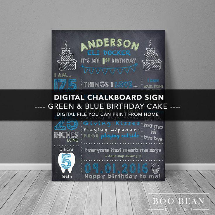 First Birthday Chalkboard Sign | Chalkboard Sign | Personalized Poster | Birthday Chalkboard Sign | Boys Chalkboard sign | Birthday Cake by BooBeanDesign on Etsy