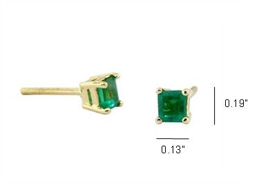 Emerald cut emeralds set in 18K yellow gold prong setting for 2 genuine  natural Colombian emeralds in 0.59 Ct. t.w. by www.GreenInGold.com #emerald #studearrings #earrings