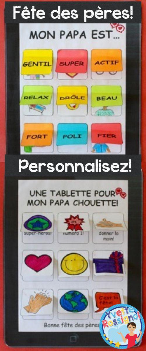 Choix de 2 tablettes! Plusieurs choix pour personnaliser! Comptine et activités inclus :) Parfait pour une belle carte. Modification pour grand-papa, un oncle ou un ami.
