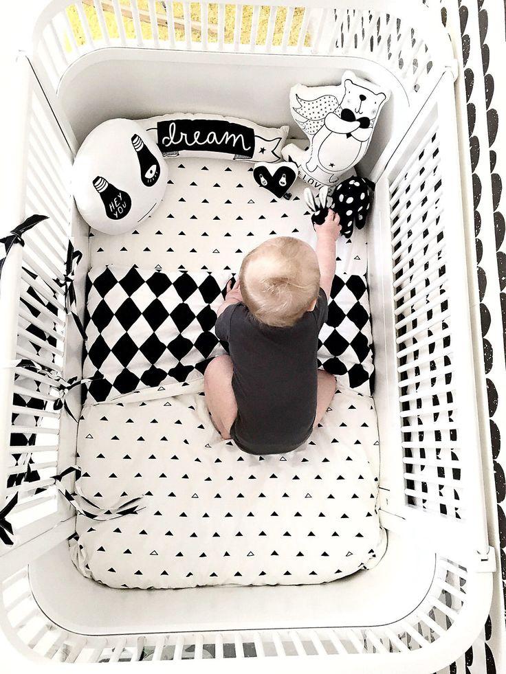 Toddler Bedding Set / Monochrome Crib Bedding / Kids Bedding / Kids Bedding Set / Toddler Duvet / Monochrome Nursery / Baby Shower Gift by Nukko on Etsy https://www.etsy.com/listing/472304983/toddler-bedding-set-monochrome-crib