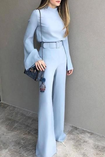 Fashion Pure Colour Half High Collar Blue Suit #jumpsuits #Rompers #jumpsuitsfor…