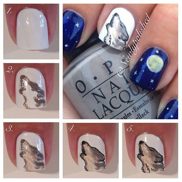 Wolf ... Nail Art Design Tutorial