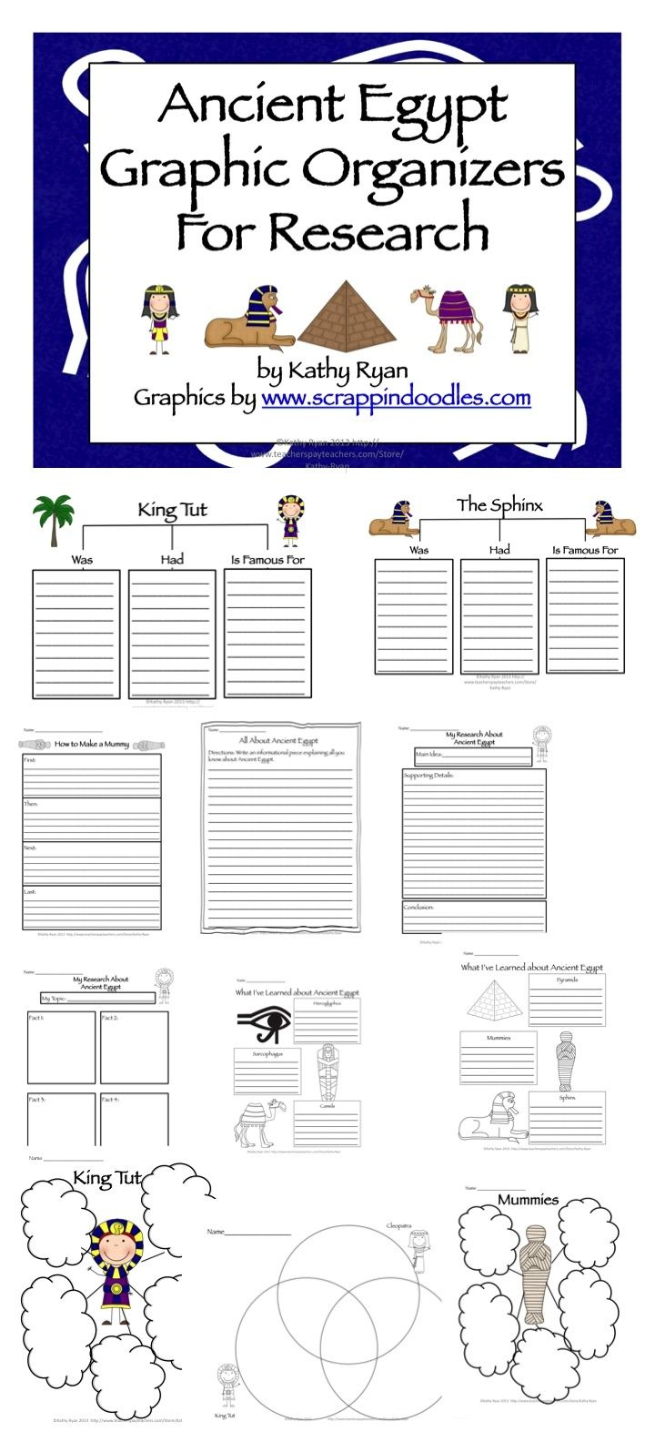 This packet contains everything you need to help your students with informational reading and writing about Ancient Egypt. There are over 50 differentiated graphic organizers and writing templates for students to use while they are studying Ancient Egypt.:
