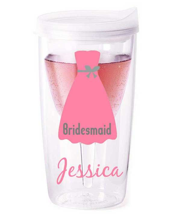 Personalized bridal party tumblers, bridesmaid gift, bridal party wine glass, bride wine, vino2go. $12.99, via Etsy.