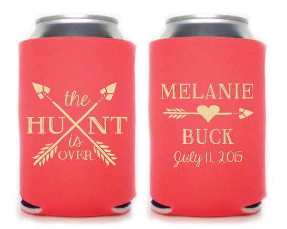 Wedding Coozies Personalized Coozies The Hunt is by SipHipHooray