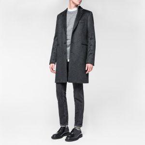 Paul Smith Men's Black Wool-Mohair Textured Overcoat