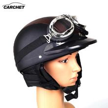 US $17.84 CARCHET Retro Motorcycle Helmet Open Face Detachable Helmets With Visor Goggles Adjustable Black&Brown Helmet FREE SHIPPING NEW. Aliexpress product
