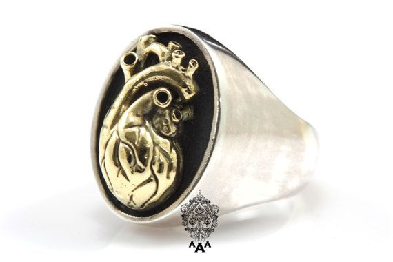 Heart of Gold on Silver Ring