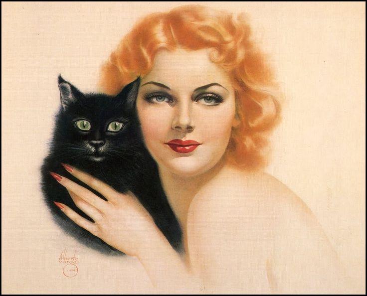 Ann Sheridan by VargasAlberto Vargas, Vargas Girls, Anne Sheridan, Art, Vintage Illustration, Cat Illustration, Pinup, Pin Up Girls, Black Cat