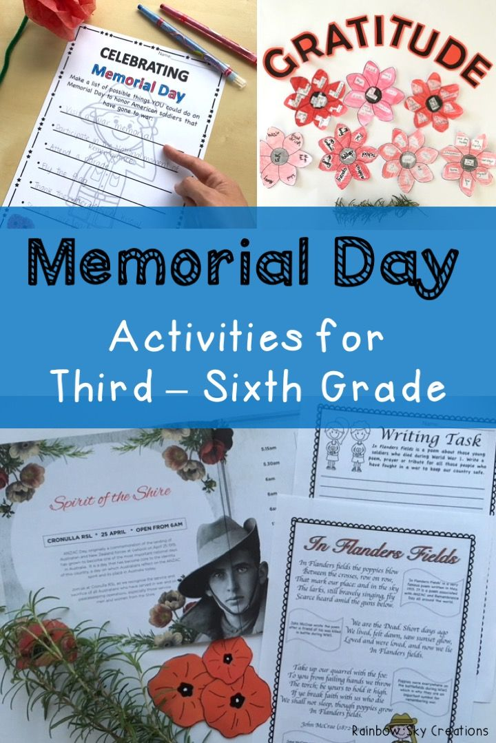 Check out these Memorial Day activities for elementary students. They include poppies to wear / create a class wreath, writing tasks, In Flanders Fields poem study, math activities and more. Printables are designed for kids to learn about the meaning of the 4th of July and the veterans and heroes that attended world wars. Suitable for students in third, fourth, fifth and sixth grade {homeschool} Click the link to see full list of inclusions #rainbowskycreations