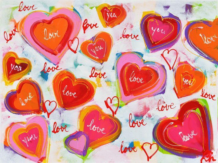 Dit is een: Acrylverf op doek, titel: 'Regen van harten' kunstwerk vervaardigd door: Liz