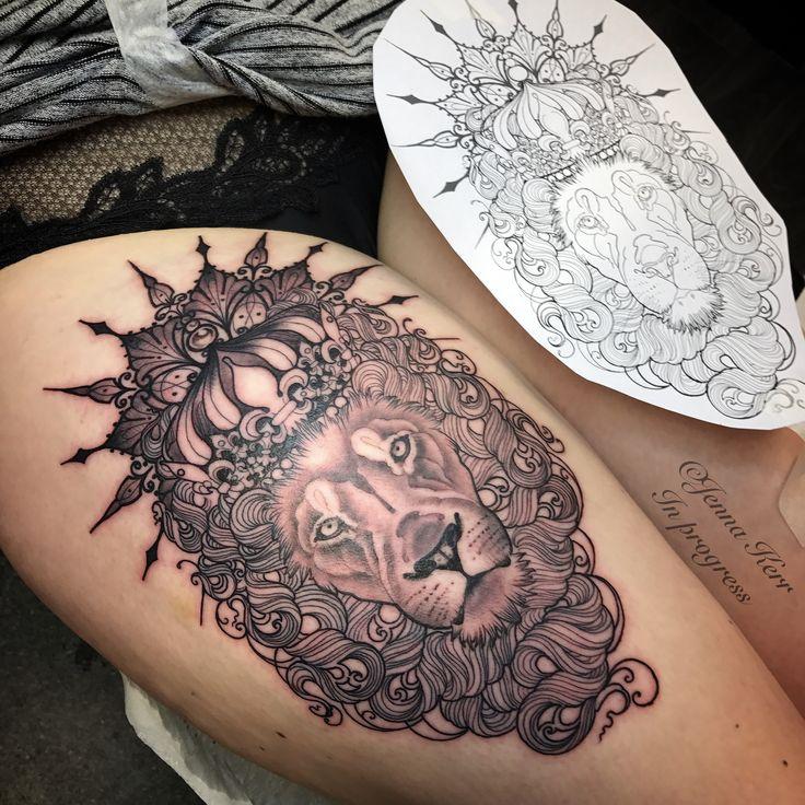 lion in progress tattoo liontattoo leo tattoos by jenna kerr pinterest tattoo. Black Bedroom Furniture Sets. Home Design Ideas