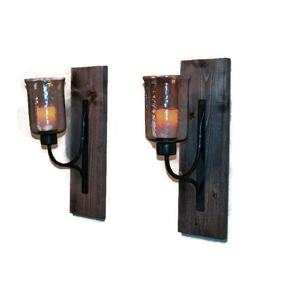 Rustic Wall Sconce Wooden Sconce Rustic Decor by EllaMurphyDesigns