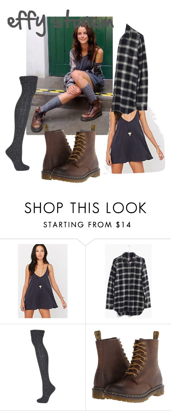 """""""Effy Stonem outfit 2"""" by sarahuska ❤ liked on Polyvore featuring Silence + Noise, Madewell, Topshop and Dr. Martens"""