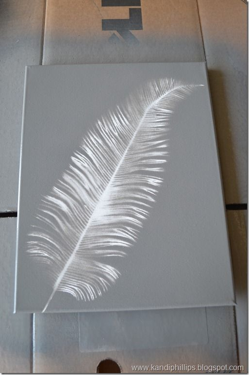 "Faux solar art using spray paint and floral ""picks."" Try this in dark varied greens."