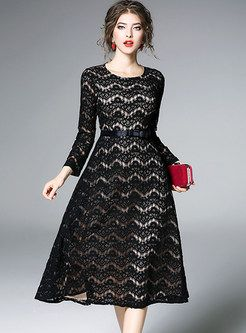 ... Black Long Sleeve Dress. Contrast Color Hollow Out Lace Skater Dress c283f9a17