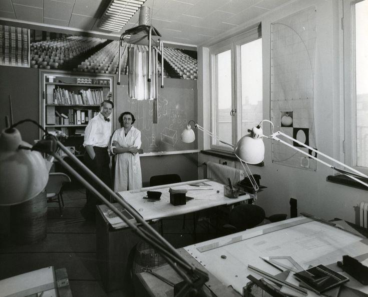 Annikki and Ilmari Tapiovaara at the office, 1954