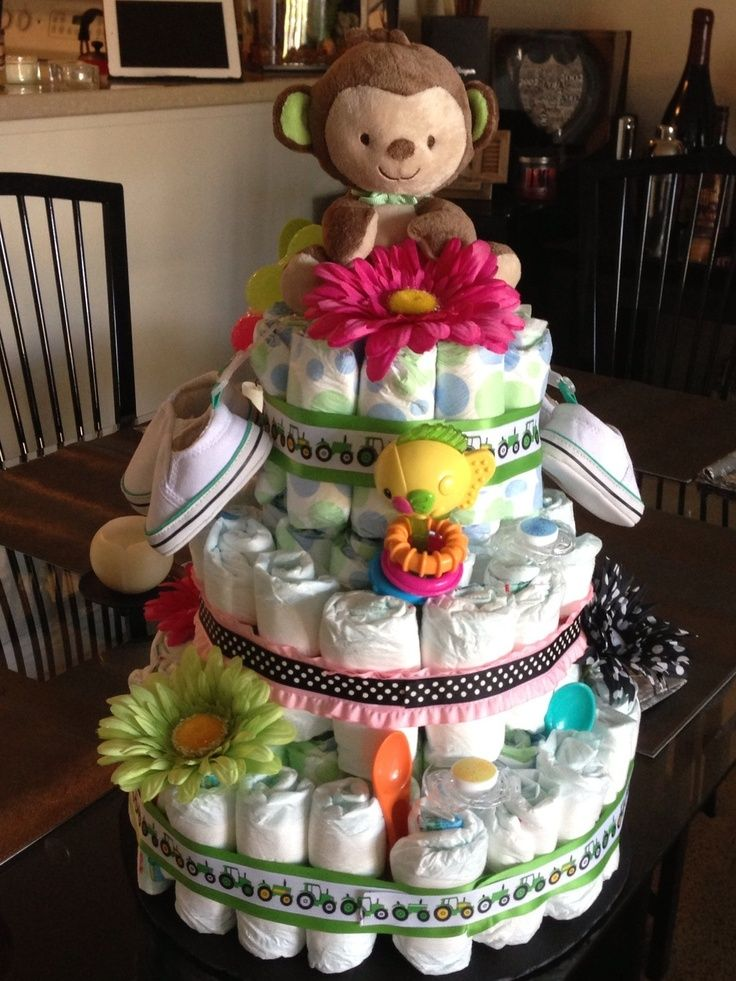 Diaper cake for unknown gender twins! | Baby Shower Ideas | Pinterest