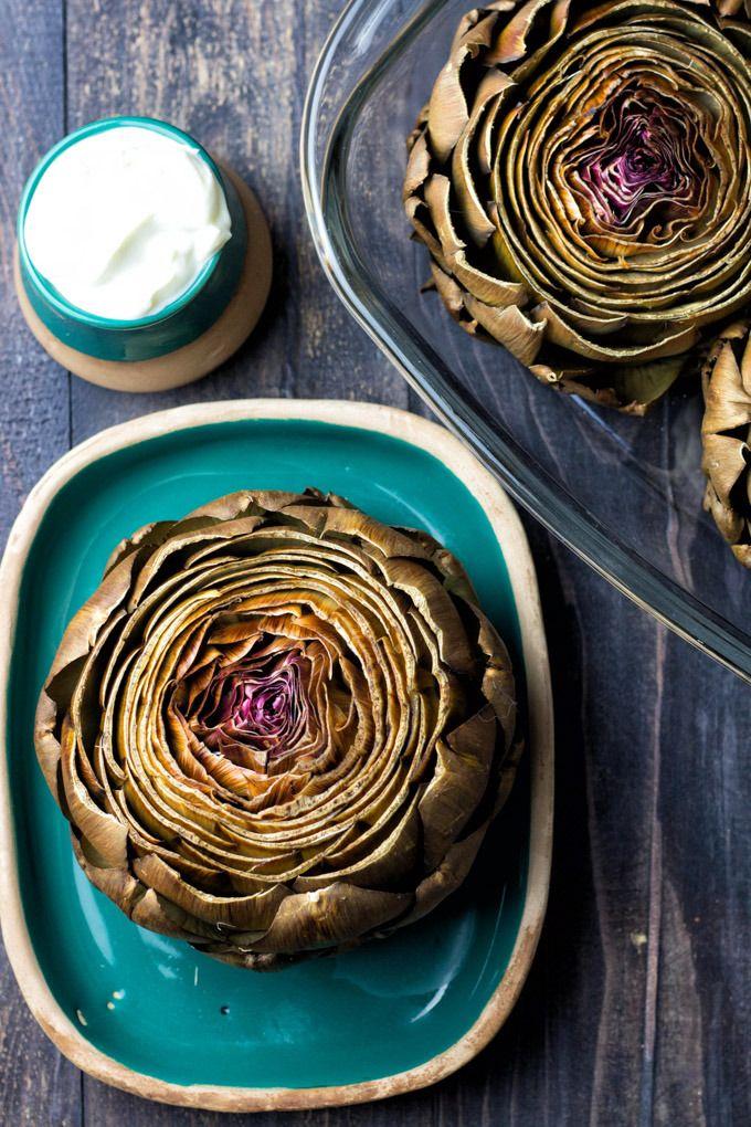 Oven Roasted Artichokes with Greek Yogurt Dip