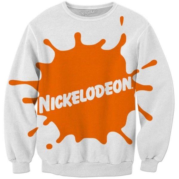Nickelodeon Sweatshirt ❤ liked on Polyvore featuring tops, hoodies, sweatshirts, orange top and orange sweatshirt