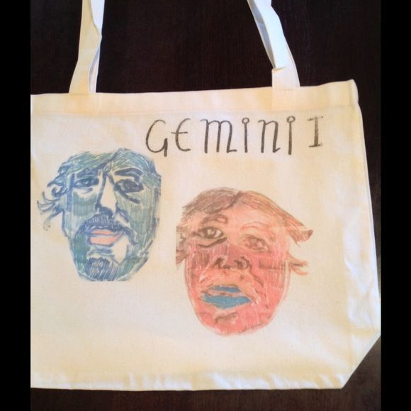 """HEY , what's your sign? GEMINI tote bag! By American apparel , natural 17.5x18"""" tote .  American Apparel Bags Totes"""