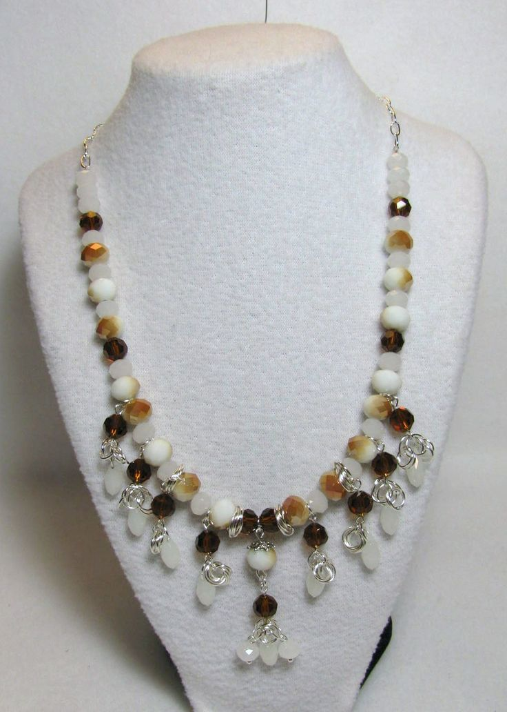 "Item 1363 - ""Swarovski Caramel Delight"" - 8mm Swarovski Topaz and White Opal Crystals, White Opal Tear Drop Crystals, Glass Caramel Glass & ChainMail Tier Necklace $54 + $5 S&H. (SEE MATCHING BRACELET) Visit all my BEAUTIFUL jewelry pages, just follow the link: https://www.facebook.com/linda.foust.9?sk=photos..."