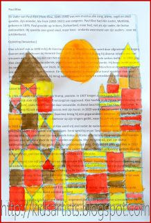 Kids Artists: Castle and Sun, like Paul Klee using crayon, newspaper, and watercolor.