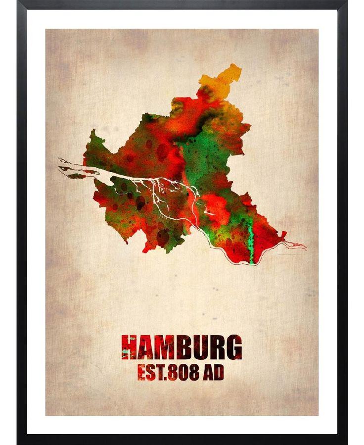 Hamburg Watercolor Map Art Print by Naxart now on Juniqe.com   Art. Everywhere.