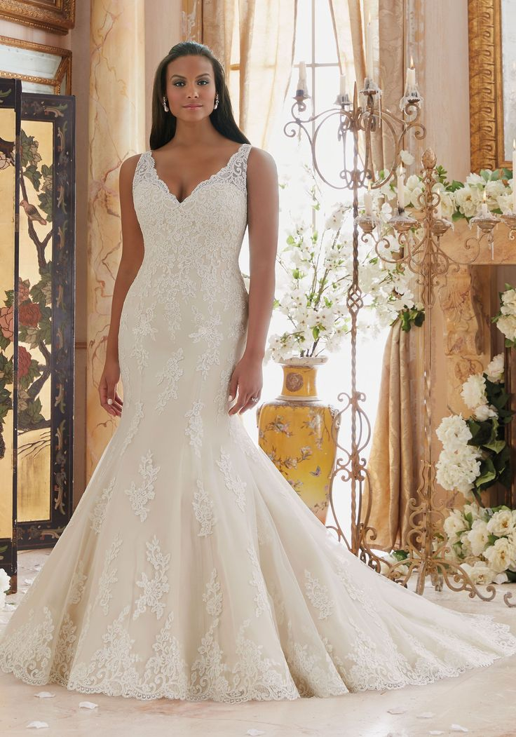 Embroidered Lace Appliques on Tulle with Scalloped Hemline Plus Size Wedding Dress Designed by Madeline Gardner. Colors: White, Ivory, Ivory/Cameo
