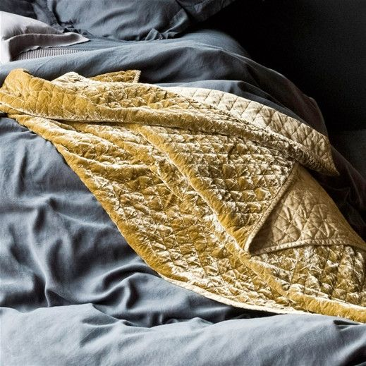 This elegant Silk Velvet Quilted Throw Blanket is made from 82% rayon and 18% silk. Add visual interest to your bedding or draped over furniture. The blanket is lightly padded, edged in matching satin