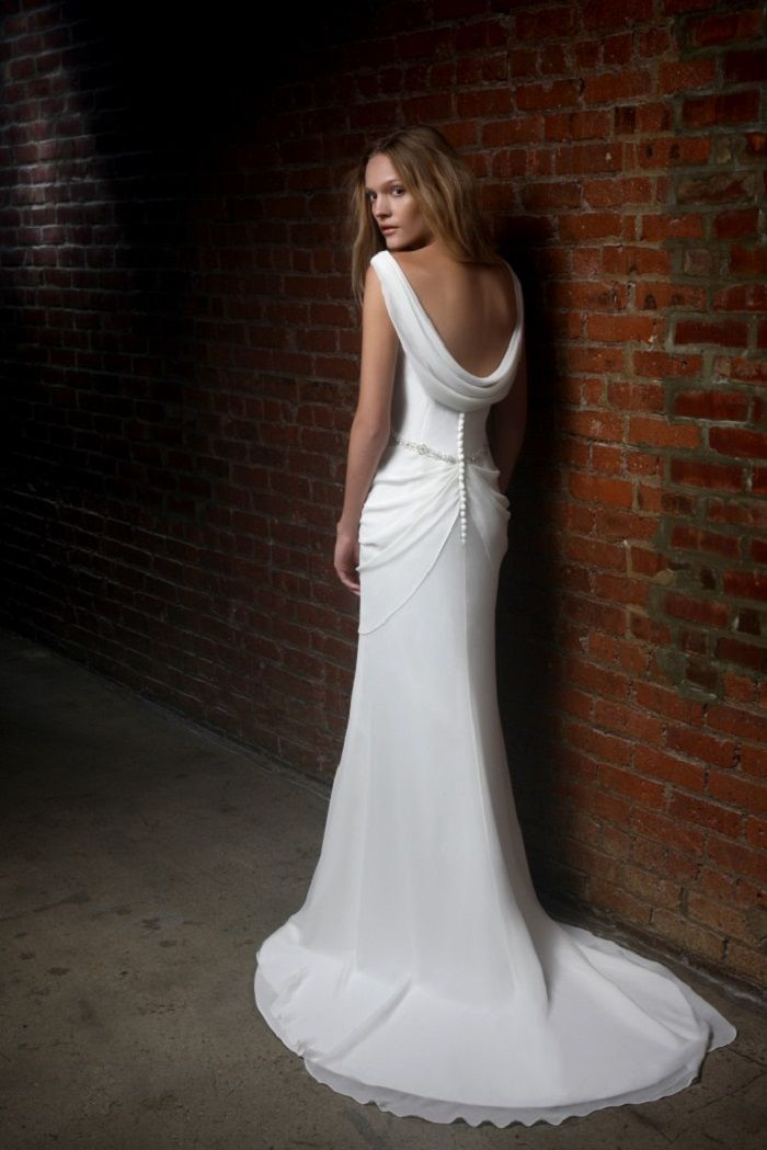 Cowl neck low back wedding dress inspiration #weddingdress #weddingdresses #cowlbackweddingdress #vintagestyledweddingdress #glamourousweddingdress