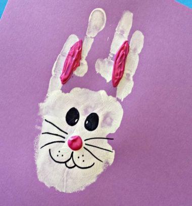 DIY Handprint bunny face Easter card  - kids craft // Kézlenyomat nyuszi arc - húsvéti képeslap gyerekeknek // Mindy - craft tutorial collection // #crafts #DIY #craftTutorial #tutorial