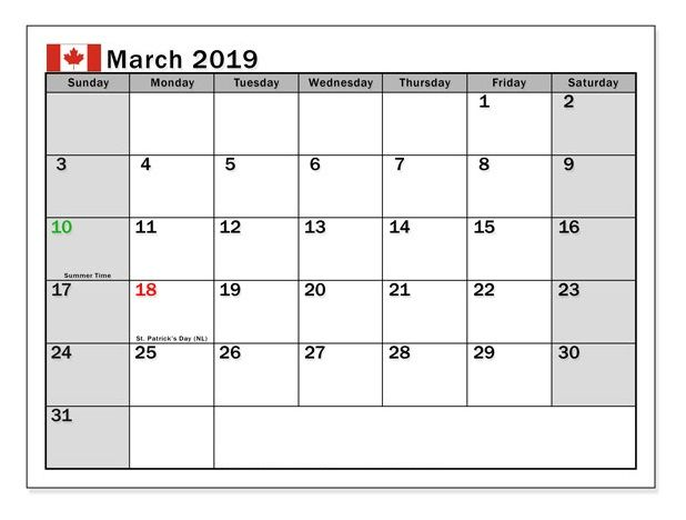 March 2019 Canada Printable Calendar Holiday Calendar Printable
