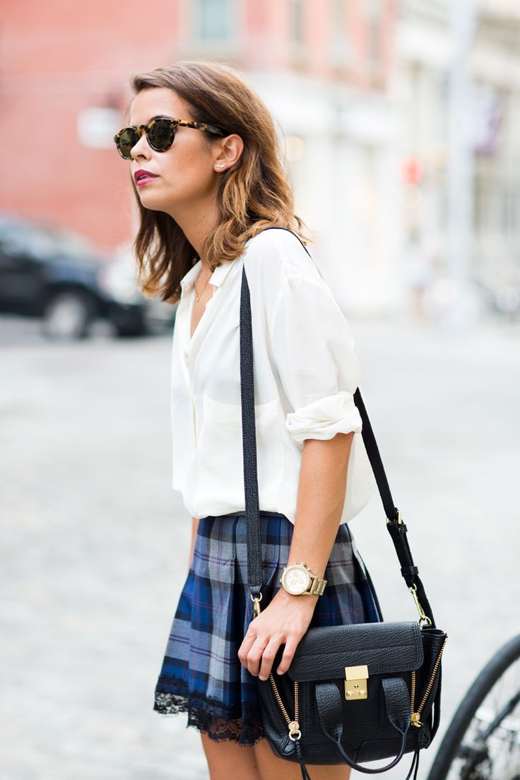 Lace hem Plaid / Gingham Skirt with Button Down Shirt