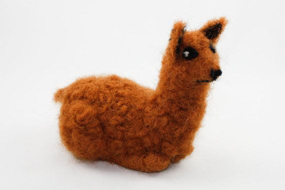 Needle Felted Alpaca Sienna Brown by OnceAgainSam on Etsy, $34.00
