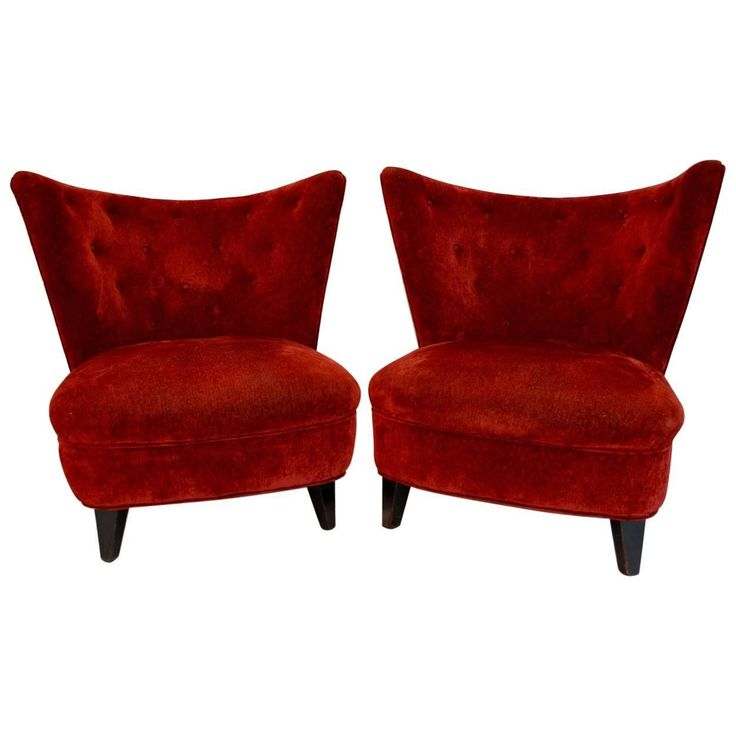 Glamorous Pair of 1940 Lounge Slipper Chairs by Gilbert Rohde