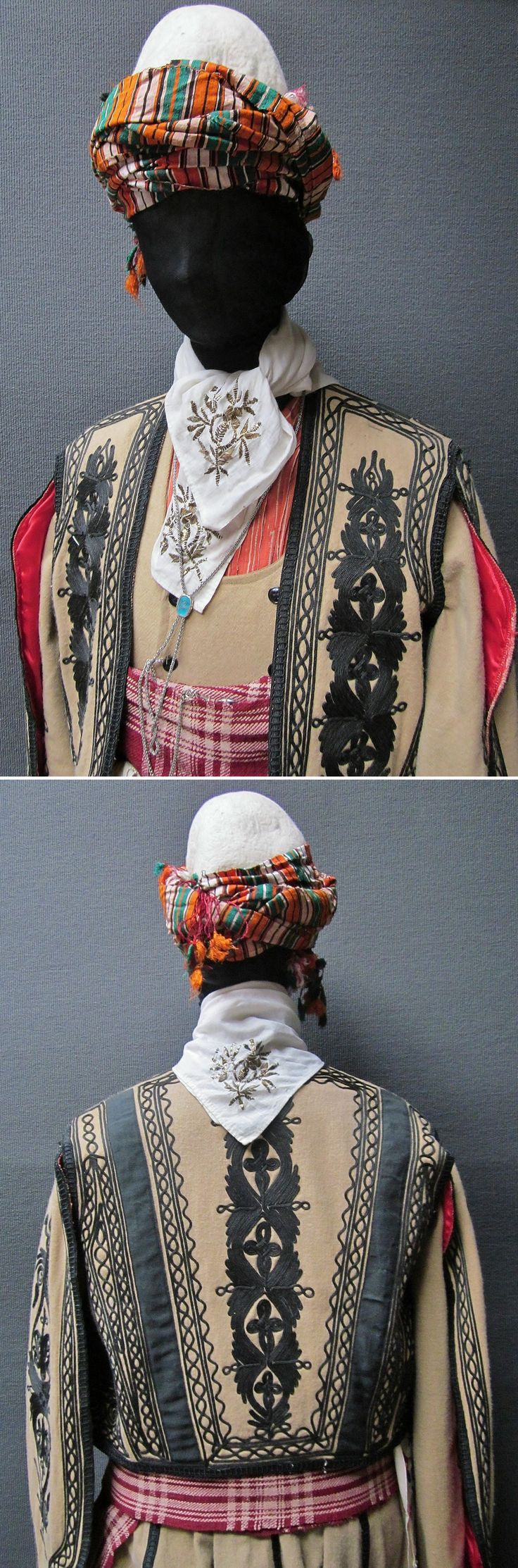 Close-ups of the traditional men's costume from the Silivri district (W of Istanbul). Style: people's militia, ca. 1900. The long-sleeved 'cebedan'/vest & the 'kartal kanat'/outer vest (with hanging sleeves) are workshop-made machine-embroidered copies (1990), as worn by folk dance groups. The accessories are original (some of them old:1900-'60): woollen 'kuşak'/belt, embroidered kerchiefs, silver chain, silk headscarf, felt hat. (Kavak Folklor Ekibi & Costume Collection…