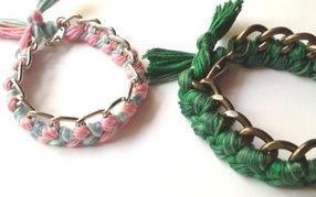 THE HEN HATCH WORKSHOP - Woven Chain Bracelets.  Each guest can select their own coloured thread to weave this grown-up version of a friendship bracelet.