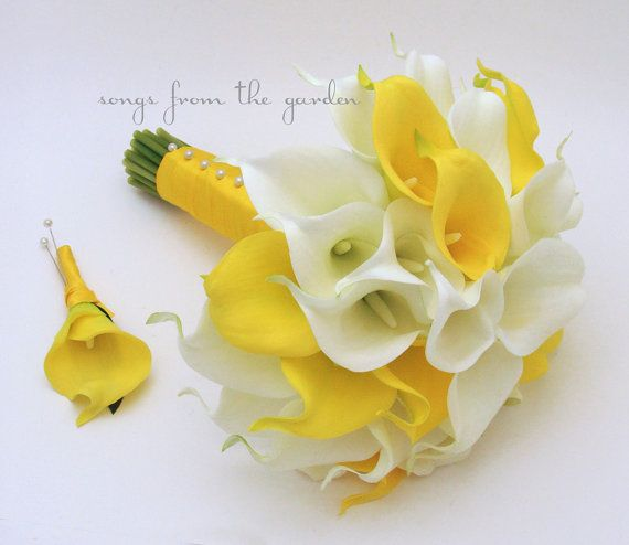 Yellow White Real Touch Calla Lily Bridal by SongsFromTheGarden, $130.00