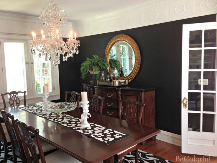 Black Dining Room Round Mirror
