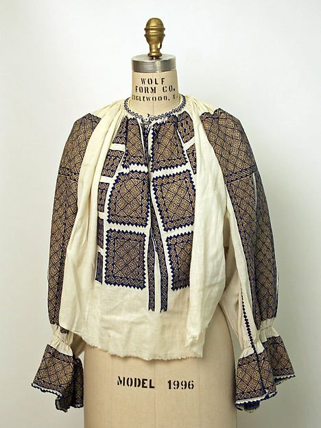 Romanian Blouse, cotton and metal, 1900–1981.