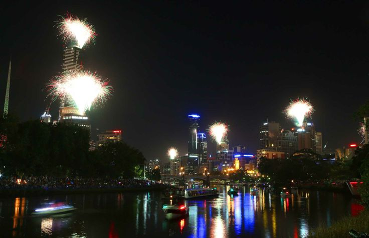New Year's Eve fireworks over the Yarra River and Melbourne at midnight in Melbourne, Australia. (Jan. 1, 2014)