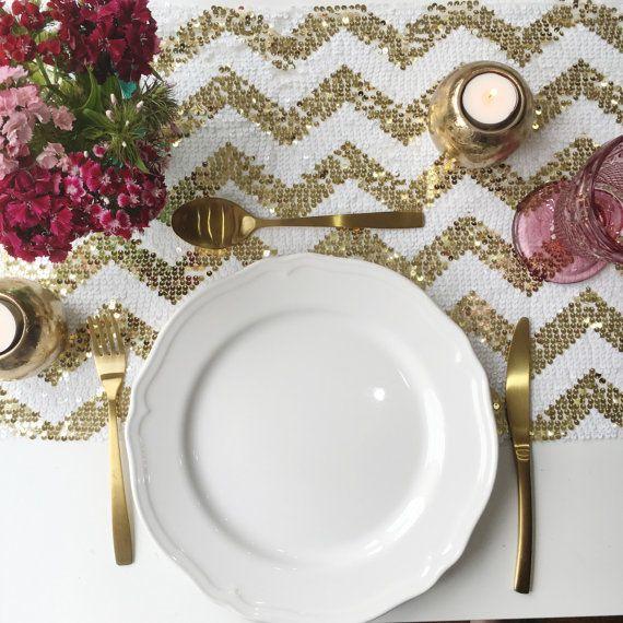 Sparkly Gold Chevron Sequin Table Runner, Sequin Tablecloth, Sequin Linen, Sequin Gold Chevron Table Runner, Sequins
