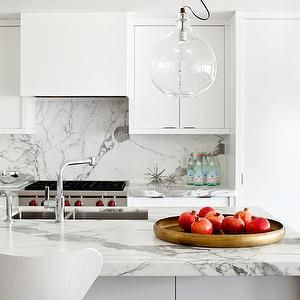 Marble and white cabinets