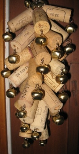 $45.00 Upcycled cork  bells door wind or feng-shui OOAK chime handmade, original idea, click pic twice for more info